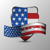 The vector shield with ribbon. Stock Photography
