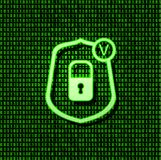 Vector Shield Security Lock Icon, Bright Green Glowing Sign on Binary Code Background. stock images