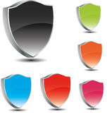 Vector shields in 3d. Different colors Stock Images