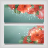 Vector Shining Flowers Roses Banner Royalty Free Stock Photos