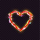 Vector Shining Heart Icon, Glitch Effect, Red Bright Luminous Sign Isolated. royalty free illustration
