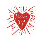 Vector shining heart love poster. Hand drawn red shining heart with a declaration of love. It is possible to use as the main element for a poster, background Stock Photo