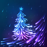 Vector shining lights blue neon christmas tree Stock Photo