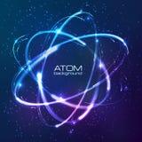 Vector shining neon lights atom model Stock Image
