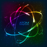 Vector shining neon lights atom model Stock Image