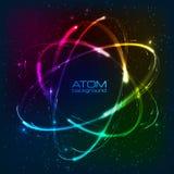 Vector shining neon lights atom model. Vector shining rainbow neon lights atom model Stock Image
