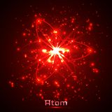 Vector shining neon lights atom model.  Stock Image