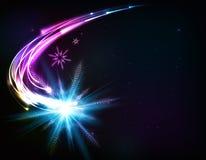 Vector shining snowflake meteor Stock Photography