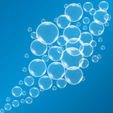 Vector shiny bubbles in blue water Royalty Free Stock Photography