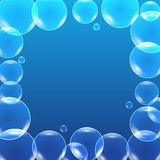 Vector shiny bubbles in blue water, Stock Photography