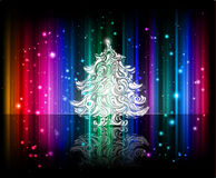 Vector shiny christmas background. Vector shiny christmas graphic with christmas tree on colorful rainbow stripped dark background Royalty Free Stock Image