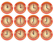 Vector shiny clock red and orange set Stock Photography