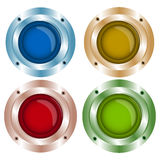 Vector shiny color buttons with metal elements, red, green, blue. Yellow, background,stock vector. Colored web buttons with chrome, metallic elements, isolated Stock Image