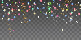Vector shiny colorful border with falling confetti and streamers stock illustration