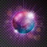 Vector shiny disco ball illustration on a transparent background. Stock Images