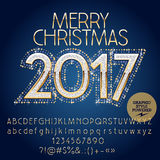 Vector shiny glitter Merry Christmas 2017 greeting card Royalty Free Stock Photos