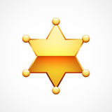 Vector Shiny Gold Sheriff Star. Isolated on white background Royalty Free Stock Images