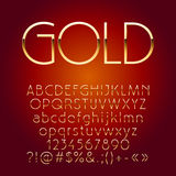 Vector shiny golden letters, symbols and numbers Royalty Free Stock Photo