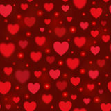 Vector shiny hearts seamless background. Valentine`s day. 14 February. Blurred soft backdrop with bokeh and light. EPS10 Stock Photo
