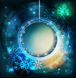 Vector shiny holiday background with snowflakes and frame Stock Photography