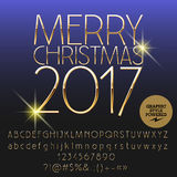 Vector shiny Merry Christmas 2017 greeting card. With set of letters, symbols and numbers. File contains graphic styles Royalty Free Stock Photos