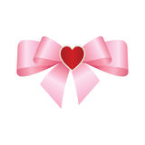 Vector Shiny Pink Satin Gift Bow. Pink festive tied bow made from ribbon, isolated on white background Royalty Free Stock Photo