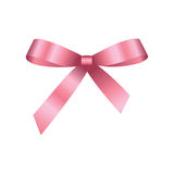 Vector Shiny Pink Satin Gift Bow. Pink festive tied bow made from ribbon, isolated on white background Royalty Free Stock Photography