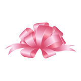 Vector Shiny Pink Satin Gift Bow. Pink festive tied bow made from ribbon, isolated on white background Royalty Free Stock Images
