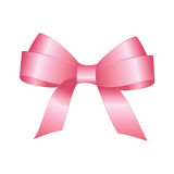 Vector Shiny Pink Satin Gift Bow. Pink festive tied bow made from ribbon, isolated on white background Royalty Free Stock Photos