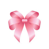 Vector Shiny Pink Satin Gift Bow. Pink festive tied bow made from ribbon, isolated on white background Stock Photo