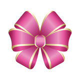 Vector Shiny Pink Satin Gift Bow. Pink festive tied bow made from ribbon, isolated on white background Stock Image