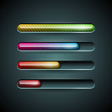 Vector shiny progress indicator set on a dark background. Stock Photography
