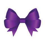 Vector Shiny Purple Satin Gift Bow Stock Images
