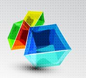 Vector shiny transparent glass cube background Stock Image
