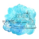 Vector ship at blue watercolor background. Vector line drawing shipsat blue watercolor background, hand drawn illustration stock illustration