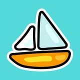 Vector ship or boat in cartoon style. Isolated icon of ship in sea or ocean with background royalty free illustration
