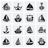 Vector Ship and boat icon set Stock Photo