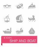 Vector ship and boat icon set. On grey background stock illustration