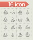 Vector Ship and boat icon set. On grey background Royalty Free Stock Photo