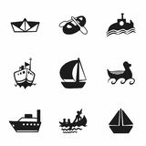 Vector ship and boat icon set. On white background Royalty Free Stock Image