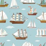 Vector ship boat miniature vessel old vintage sailboat souvenir sea shipping travel white canvase seamless pattern. Background. Adventure sailboats Royalty Free Stock Image