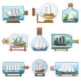 Vector ship in bottle boat in miniature sailboat souvenir in glass jar with cork shipping ouvenir in flask isolated on. White background vector illustration
