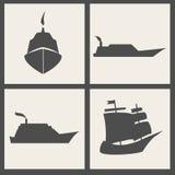 Vector ship icons. Dark gray vector ship icons Stock Photography