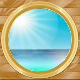 Vector Ship Porthole with SeaScape View. Vector Ship Porthole with Beautiful SeaScape View Royalty Free Stock Image