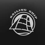 1 Vector ship. Sailing ship logo, symbol, on a dark background Stock Photo