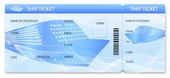 Vector Ship ticket template / layout. Travel by Cruise liner Transport stock illustration