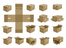 Vector shipping box set Royalty Free Stock Photography
