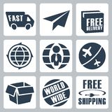 Vector shipping icons set Royalty Free Stock Images