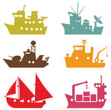 Vector ships. Simple and funny vector ships royalty free illustration