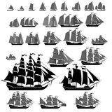 Vector ships set with separate editable elements. Stock Image